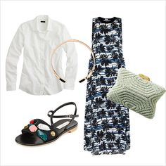 5 ways to style a white button down for summer: wear a palm-print dress with flat sandals, a choker and clutch
