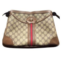 IN VOGUE VINTAGE GUCCI MONOGRAM CROSSBODY Gucci label is present .GUCCI was founded in 1921 by Guccio Gucci in Florence, Italy. The company is known for their high-end leather goods, clothing, and other accessories.  Today- Gucci leather bags this size retail anywhere from $ 950- 3,600.00 (check out their website)This bag is in great vintage condition . Also , for the quality and look- it is a beautiful, high-end fashionable bag for a reasonable price! see the above for detailed images…