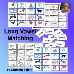 Long Vowel Activities CVCe and Vowel Teams Lotto Picture Word Match