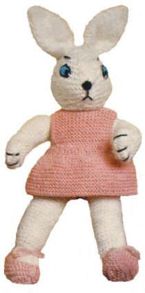 Girl Bunny & Clothes Stuffed Toy Vintage Knitting Pattern for download