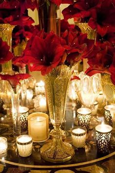 Alternating votive and taper candles is both beautiful and practical, allowing…