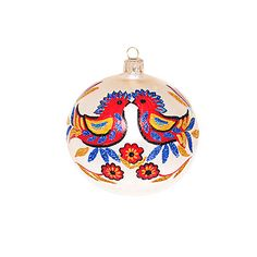 hand painted bauble with scandinavian ornaments | Christmas decorations