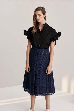 IRIS AND INK Pleated raffia skirt