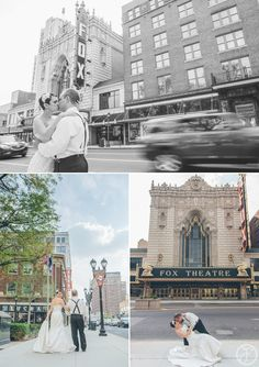 bride and groom in front of fox theatre // st louis wedding photographers