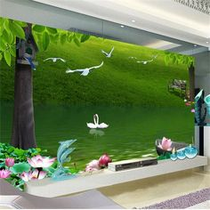 29.99$  Watch now - http://aixfh.worlditems.win/all/product.php?id=32775881110 - 3d room photo wallpaper custom mural non-woven wall sticker Green grass birds photo painting TV background wall 3d wallpaper