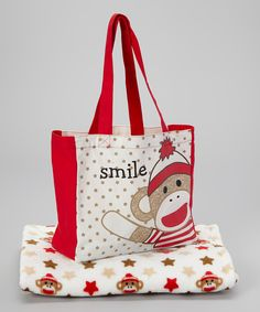 Look at this Baby Starters Gray & Red 'Smile' Sock Monkey Tote & Blanket on #zulily today!