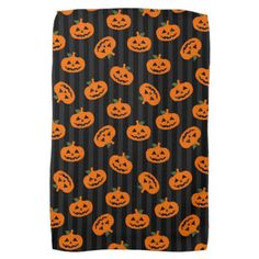 Halloween Pumpkin Pattern Towel