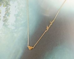 gold heart necklace with love you letters by LemonTreeLand on Etsy, $16.00