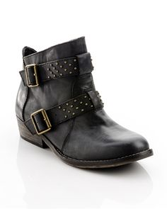 great short boots with a punk edge. buckled and studded