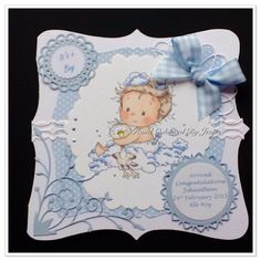 New Baby Boy Card Hand crafted and coloured Sylvia Zet Image Personalised