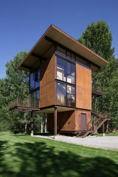 Delta Shelter Winter Cabin Retreat by Olson Kundig Architects Residential Architecture, Modern Architecture, Ideas De Cabina, Window Shutters, Shelter Design, Prefab Cabins, Tower House, Winter Cabin, Tiny Cottages