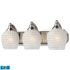 Bath And Spa 3 Light LED Vanity In Satin Nickel And White Glass 570-3N-WHT-LED