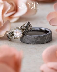 Exchange vows with a real slice of the stars with this meteorite wedding ring set! Exchange vows with a real slice of the stars with this meteorite wedding ring set! Wedding Rings Simple, Diamond Wedding Rings, Bridal Rings, Unique Rings, Wedding Bands, His And Her Wedding Rings, Custom Wedding Rings, Gold Wedding, His And Hers Rings
