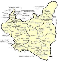 - Administrative map of Poland European Map, European History, Genealogy Research, Family Genealogy, Poland Map, Polish Language, Alternate History, Historical Maps, Ancestry
