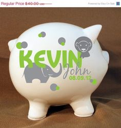 Personalized piggy bank princess piggy bank with vinyl by levinyl 8 jungle animals style personalized piggy bank boys by levinyl negle Images