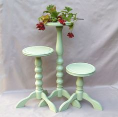 Set 3 wooden plant stand Wood light green by UnusualThingsbyOlga