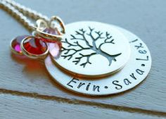 Family Tree Mothers Personalized Hand Stamped Necklace www.kennebugboutique.com
