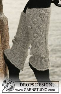 """DROPS leg warmers with cables in 2 threads """"Alpaca"""". ~ DROPS Design"""