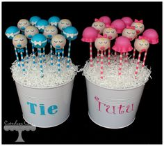 Tie or Tutu Gender Reveal Cake Pop Bouquets with ties, tutus and babies.  www.facebook.com/i.love.cuteology.cakes