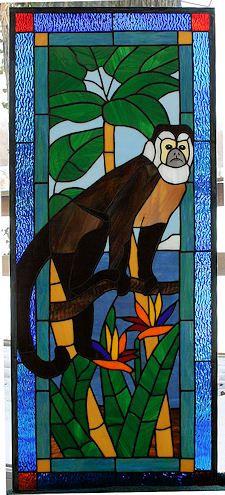 Capuchin Monkey Stained Glass window