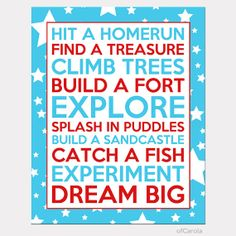 "Wall Art Boys Quote Print Personalized Play Room Decor Nursery, Hit A Homerun Build A Fort Text Quote, Red Turquoise White ofCarola 8x10"" on Etsy, $15.00"