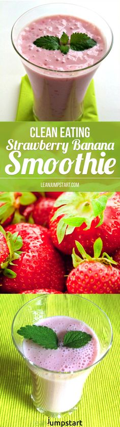 This 4-ingredient clean eating strawberry banana smoothie is one of my best breakfast to go options ever. It is ready within a few minutes and full of flavorness. Repin this and then click through to read about this quick and healthy smoothie or watch the short video!