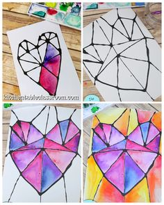 Use black glue and watercolors to for this stained glass inspired heart painting. - Use black glue and watercolors to for this stained glass inspired heart painting. Art 2nd Grade, Classe D'art, Art Projects For Adults, Art Education Projects, Summer Art Projects, Summer Crafts, Clay Projects, Heart Painting, Glue Painting