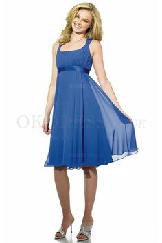 Simply Midi Sleeveless Square Chiffon Bridesmaid Dresses - by OKDress UK