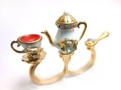 Tea Set Double Finger Ring van CandiWareJewelry op Etsy, $20.00
