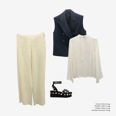 Arropame look ss16 with the Sandrah sandals by Alexander Wang: trousers, shirt and waistcoat by Helmut Lang. #arropame #conceptstore #bilbao #ss2016 #AlexanderWang #HelmutLang #fashion #shoponline #looks #ootd #shopping #trendy #style #sandals http://arropame.com/las-sandalias-con-nombre-propio-de-alexander-wang/