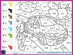 "fichas-de-matematicas-para-sumar-y-colorear-dibujo-6 ""Paint color by addition and subtraction numbers - Worksheet for education"""