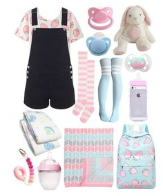 """""""Little Strawberry (age regression, etc.)"""" by transboyfanboy ❤ liked on Polyvore featuring Miss Selfridge, The Bonniemob and Comotomo"""