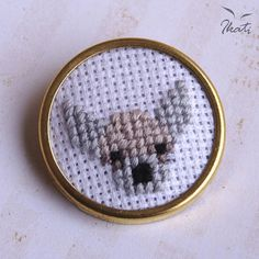 CHIHUAHUA Dog Brooch Cross Stitch Embroidery by IkatiWorks