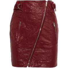 Isabel Marant Breezy faux washed-leather mini skirt ($420) ❤ liked on Polyvore featuring skirts, mini skirts, leather skirt, polka dot skirt, mini skirt, polka dot mini skirt and short skirts