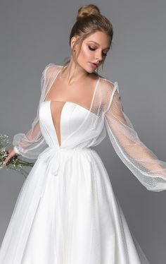 24 Bridal Gowns With Sleeves Never Fails To Impress ★ Ladies, are you searching for the perfect wedding dress? We bring to your attention a bridal gown with sleeves! These dresses will look absolutely adorable! Wedding Dress Trends, Elegant Wedding Dress, Best Wedding Dresses, Elegant Dresses, Bridal Dresses, Diamond Wedding Dress, Tulle Wedding, Boho Wedding, Ball Dresses