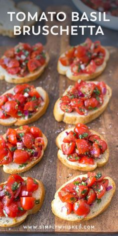 Simple tomato basil bruschetta tomato bruschetta, bruschetta recipe, dairy products – Everything About Appetizers Dairy Free Appetizers, Dairy Free Recipes, Gourmet Appetizers, Gourmet Desserts, Plated Desserts, Clean Eating Snacks, Healthy Snacks, Healthy Recipes, Healthy Life