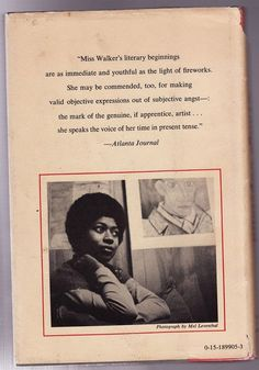 Alice Walker looking thoughtful on the back cover of The Third Life of Grange Copeland, 1970