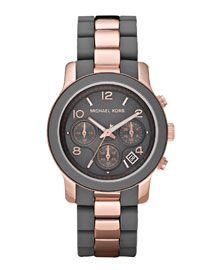 Friday Fancies: Silicone Strap Watches, Michael Kors Two-Tone Silicone Watch, Rose Gold/Grey