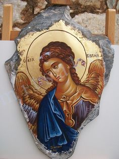 mitsakou artwork Byzantine Icons, Byzantine Art, Religious Icons, Religious Art, Small Icons, Russian Icons, Religious Paintings, Hand Painted Rocks, Foto Art