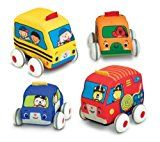 Melissa & Doug K's Kids Pull-Back Vehicle Set - Soft Baby Toy Set With 4 Cars and Trucks and...