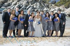 Gray bridesmaids dresses, blue flowers  Lake Tahoe Weddings  ©PhotographybyMonique