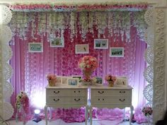A white and pink combination design for the photobooth by Winwin decoration