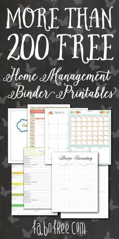 Mix and Match for More than 200 Free Home Management Binder Printables!! #Crafts