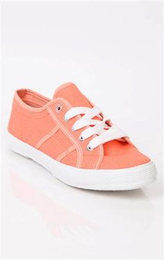 Deb Shops #peach lace up canvas slip on #sneaker