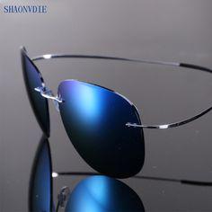2017 New Fashion Ultralight Rimless Titanium Polarized Sunglasses Men  Driving Fishing Brand Design Sun Glasses Oculos d2bf838635