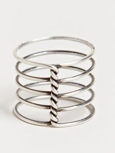 Ann Demeulemeester Women's Spiral Ring From AW13 Collection In Silver.