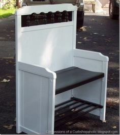 Repurposed Crib Mudroom Bench by Confessions of a Curbshopaholic