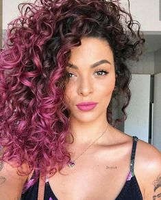 Pink curly hairstyles are classy and beautiful! Add uniqueness to yourself with these hairdos with pink curls and make head turns. Curly Purple Hair, Ombre Curly Hair, Colored Curly Hair, Ombre Hair Color, Dyed Hair, Curly Hair Styles, Natural Hair Styles, Color For Curly Hair, Dip Dye Hair