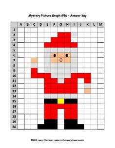 Santa Mystery Picture Color Graph using coordinates, Christmas fun Fun Christmas Activities, Christmas Math, Christmas Cross, Cross Stitch Patterns, Quilt Patterns, Twister Quilts, Christmas Perler Beads, Graph Paper Art, Knitting Charts