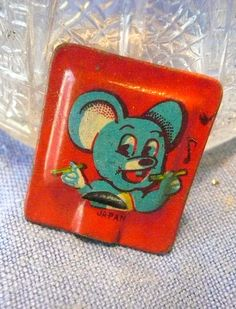 Vintage Cracker Jack Tin Lithograph Square Whistle 1930's